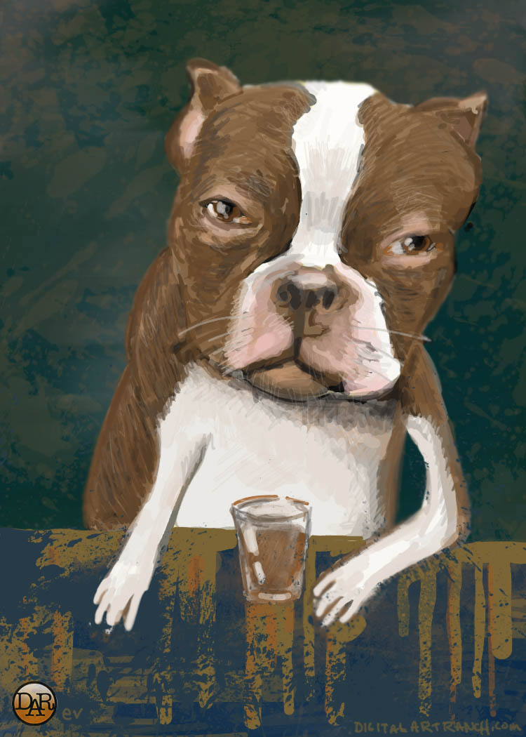 Whiskey drinking dog