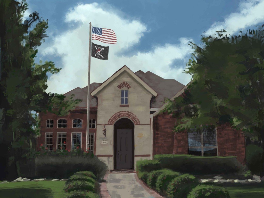 digital painting - house portrait of Austin home