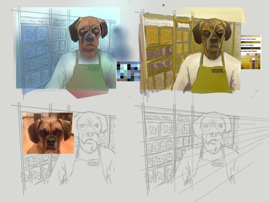 Color Studies and working out perspective for painting of dog
