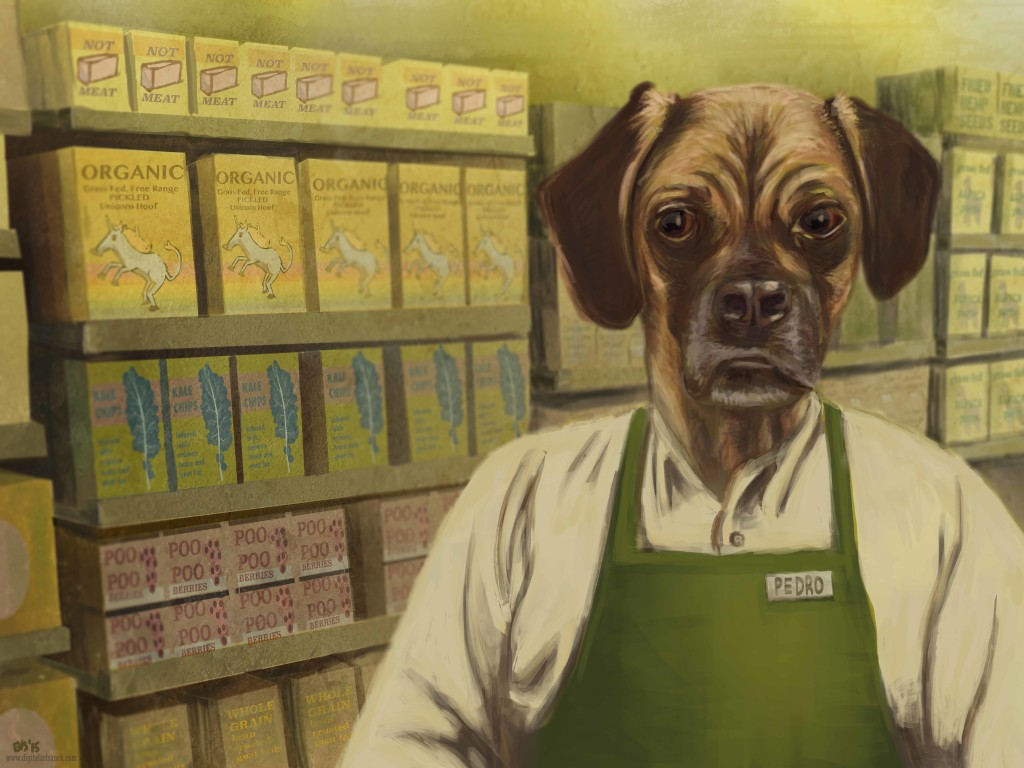 Digital painting of Dog in Grocery store Co-Op
